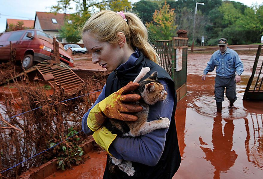 Tunde Erdelyi, left, saves her cat while Janos Kis, right, walks into their yard flooded by toxic mud in the town of Devecser, Hungary, Tuesday, Oct. 5, 2010. Monday's flooding was caused by the rupture of a red sludge reservoir at an alumina plant in western Hungary and has affected seven towns near the Ajkai Timfoldgyar plant in the town of Ajka, 100 miles (160 kilometers) southwest of Budapest. (AP Photo/Bela Szandelszky)