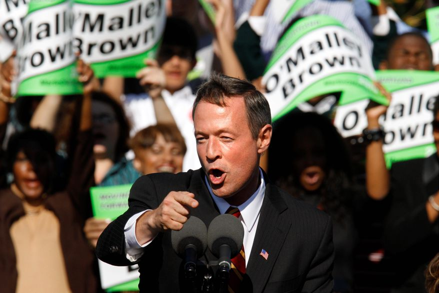 Mr. O'Malley speaks at his gubernatorial rally in Bowie on Thursday. Democratic Majority Leader Steny H. Hoyer and Sen. Barbara A. Mikulski also stumped for the governor.