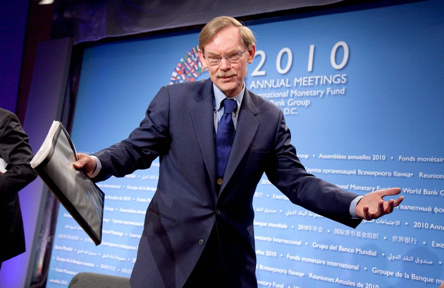 """""""Today, we face currency tensions. Tensions can lead to trouble if not properly managed,"""" said World Bank President Robert B. Zoellick, who was a top U.S. trade official in the George W. Bush administration, after the opening news conference for the International Monetary Fund and World Bank meetings in Washington. (Associated Press)"""