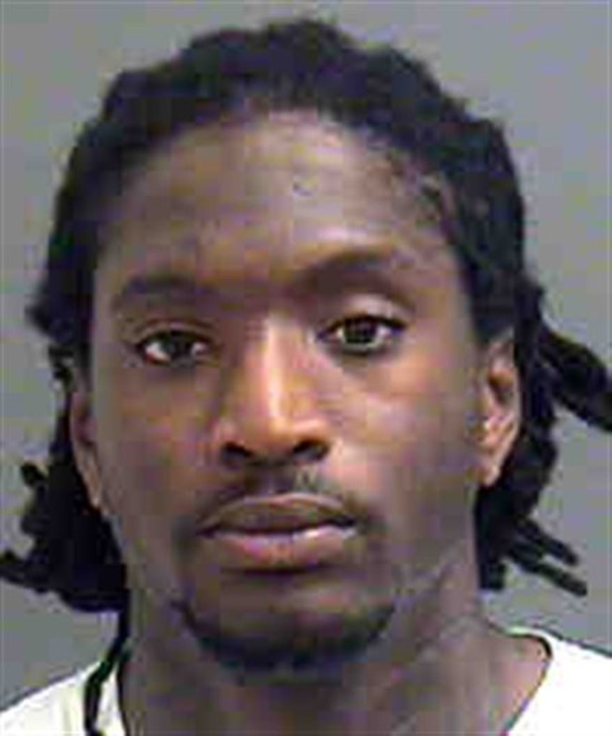 FILE - This 2010 file photo shows Carolina Panthers football player Dwayne Jarrett. Panthers receiver Dwayne Jarrett has been arrested on a charge of driving while impaired for the second time in less than three years, authorities said. Jarrett was pulled over on Interstate 77 in Charlotte for speeding shortly before 2 a.m. Tuesday, Oct. 5, 2010, Charlotte-Mecklenburg police spokesman Bob Fey said.  (AP Photo/File)