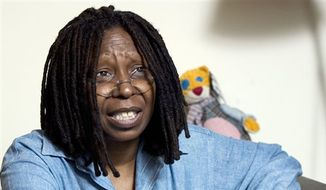 Whoopi Goldberg responds during an interview in her dressing room in New York, July 31, 2008. (AP Photo/Richard Drew, File) ** FILE **