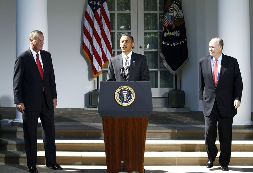 President Obama stands with outgoing National Security Adviser James Jones, left, and his replacement, Tom Donilon, in the Rose Garden of the White House in Washington, Friday, Oct. 8, 2010. (AP Photo/Charles Dharapak)