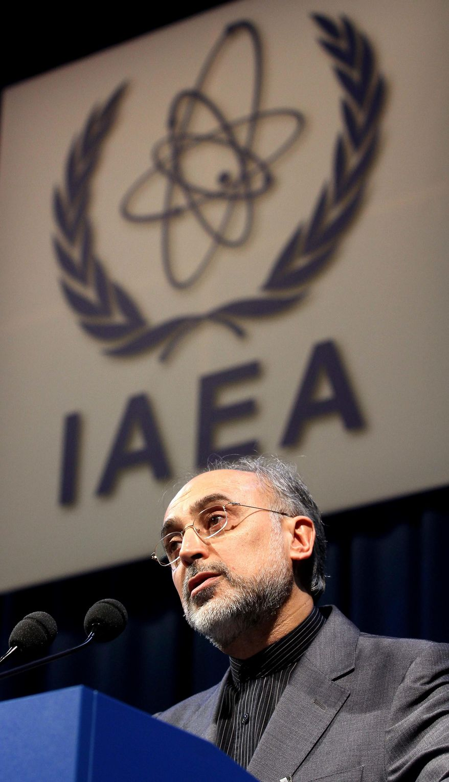 ** FILE ** Head of Iran's Atomic Energy Organization, Ali Akbar Salehi, delivers a speech at the International Atomic Energy Agency, IAEA, in Vienna, Austria, in this file photo dated Monday, Sept. 20, 2010. (AP Photo/Ronald Zak, file)