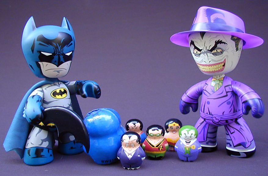 Mezco Toyz' Batman and Joker Mez-Itz and Wild Planet's DC Universe Squatz Wild Planet (Photograph by Jacquie Kubin/Special to The Washington Times)