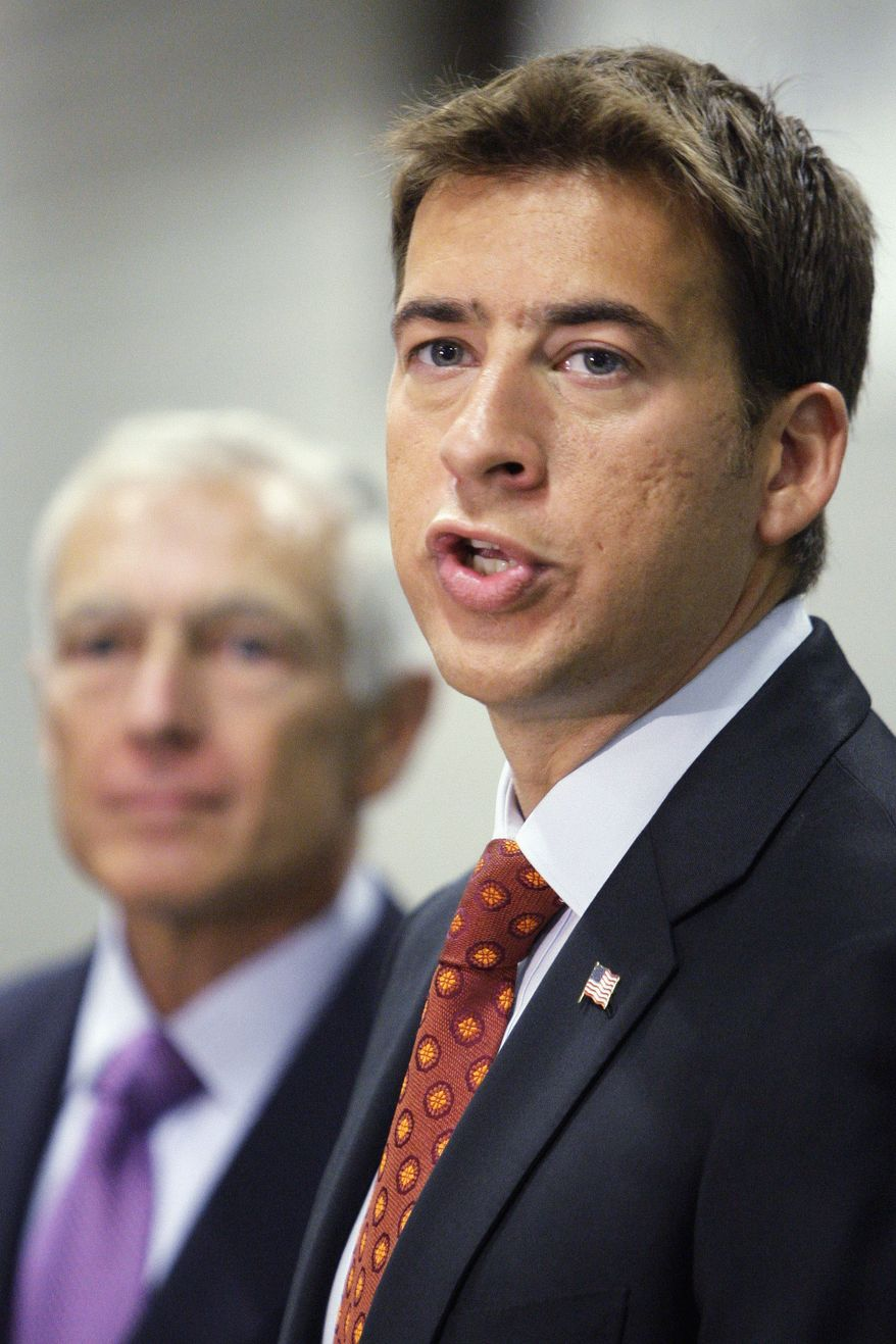 ASSOCIATED PRESS FILE - In this Aug. 30, 2010 file photo, Democratic Senate candidate Alexi Giannoulias talks to reporters at a news conference in Chicago.