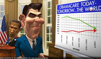 """RG ENTERTAINMENT LTD. Animated versions of President Obama and Ronald Reagan argue economic philosophy in """"I Want Your Money."""""""