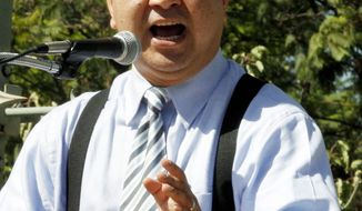 Republican Assemblyman Van Tran speaks at Tea Party rally in Garden Grove. His race against Ms. Sanchez is unusual in pitting two minority candidates against each other.