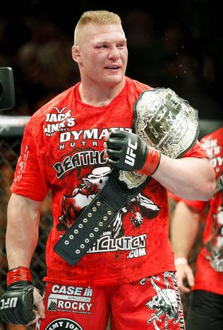Associated Press TOUGH GUY: Brock Lesnar is the heavyweight champion in the Ultimate Fighting Championship.