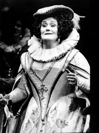 """** FILE ** Dame Joan Sutherland sings the role of Marguerite De Valois in an Australian Opera production of """"Les Huguenots"""" in 1990."""