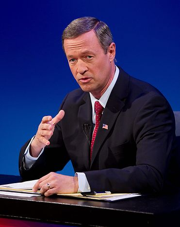 Maryland Democratic incumbent Gov. Martin O'Malley makes a point during a gubernatorial debate against former Republican Gov. Robert Ehrlich, Monday, Oct. 11, 2010, in Baltimore. (AP Photo/Rob Carr)