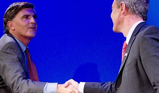 Maryland gubernatorial candidates, Republican former Gov. Robert Ehrlich, left, shakes hands with Democratic incumbent Gov. Martin O'Malley right, after a debate in Baltimore, Monday, Oct. 11, 2010. (AP Photo/Rob Carr)