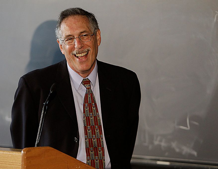 Massachusetts Institute of Technology economics professor Peter A. Diamond smiles during a news conference in Cambridge, Mass., after learning he is one of three economists to win the 2010 Nobel Prize in economics on Monday, Oct. 11, 2010.  Two Americans and a British-Cypriot economist won the 2010 Nobel economics prize Monday for developing a theory that helps explain why many people can remain unemployed despite a large number of job vacancies. (AP Photo/Stephan Savoia)