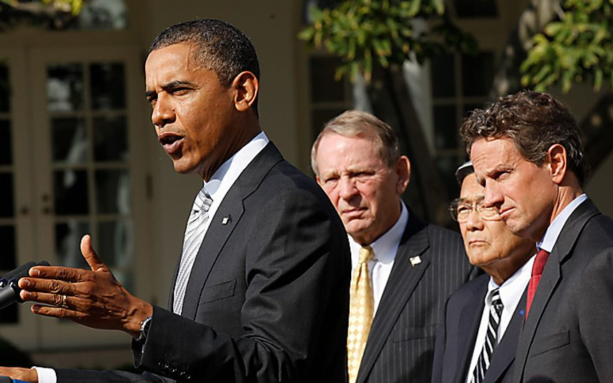 President Barack Obama, left, speaks to reporters in the Rose Garden to highlight a new report on the impact of his $50 billion infrastructure-investment proposal, Monday, Oct. 11, 2010 at the White House in Washington.  With Obama are from left to right, former Secretaries of Transportation Samuel Skinner, Norman Mineta and Secretary of Treasury Timonthy Geithner. (AP Photo/Pablo Martinez Monsivais)