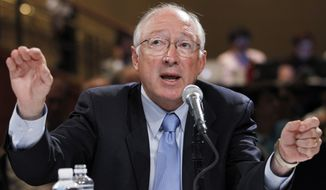 ** FILE ** Interior Secretary Ken Salazar speaks before the National Commission on the BP Deepwater Horizon Spill and Offshore Drilling on the response following the BP spill, impacts on the Gulf and approaches to long-term restoration in Washington on Monday, Sept. 27, 2010. (AP Photo/Manuel Balce Ceneta)
