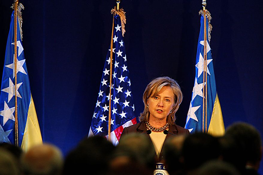 US Secretary of State Hillary Rodham Clinton delivers a speech during the ceremony of inauguration of the new US Embassy in Sarajevo, on Tuesday, Oct. 12, 2010. Secretary of State Hillary Rodham Clinton is pressing political reforms to the restive Balkans with the hope that such changes will lead to the region's full integration into the European Union and NATO. Secretary Clinton arrived late on Monday, in the capital of ethnically divided Bosnia-Herzegovina, which just held elections, to urge the country's new leadership to make EU membership a priority. (AP Photo/Amel Emric/Pool)