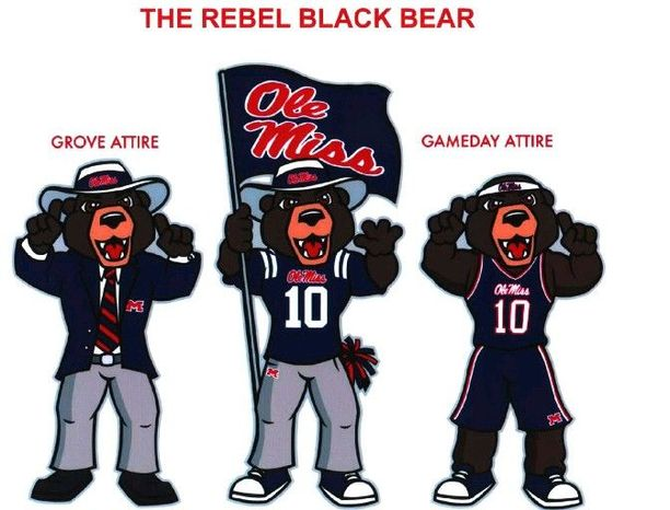 An artist's rendering released by the University of Mississippi shows the Rebel Black Bear. The school announced on Thursday that students at the school have picked the Rebel Black Bear as their new mascot. (Associated Press)