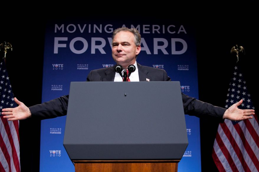 "Bloomberg DNC Chairman Tim Kaine, seen at a fundraiser Sept. 30, says ""there were races where we felt we had virtually no chance of winning six months ago and that we feel like we have very legit chances to win now."""