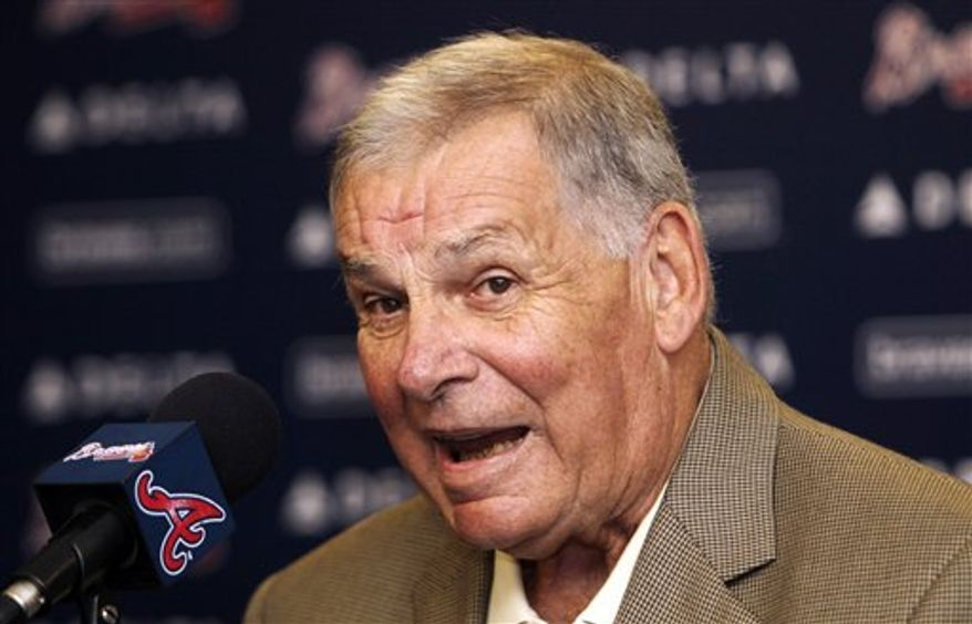 Former Atlanta Braves manager Bobby Cox speaks during his farewell news conference Wednesday, Oct. 13, 2010 in Atlanta. Cox retired at the end of the season. (AP Photo/John Bazemore)