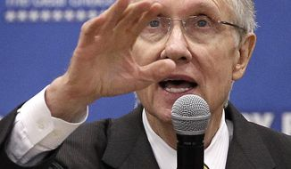 ASSOCIATED PRESS Senate majority leader Harry Reid, Dem. Nevada, speaks to supporters during a rally Tuesday, Oct. 12, 2010, in Las Vegas. Former president Bill Clinton spoke at the rally in support of Reid for the upcoming midterm elections.