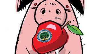 Illustration: Education pork by Alexander Hunter for The Washington Times