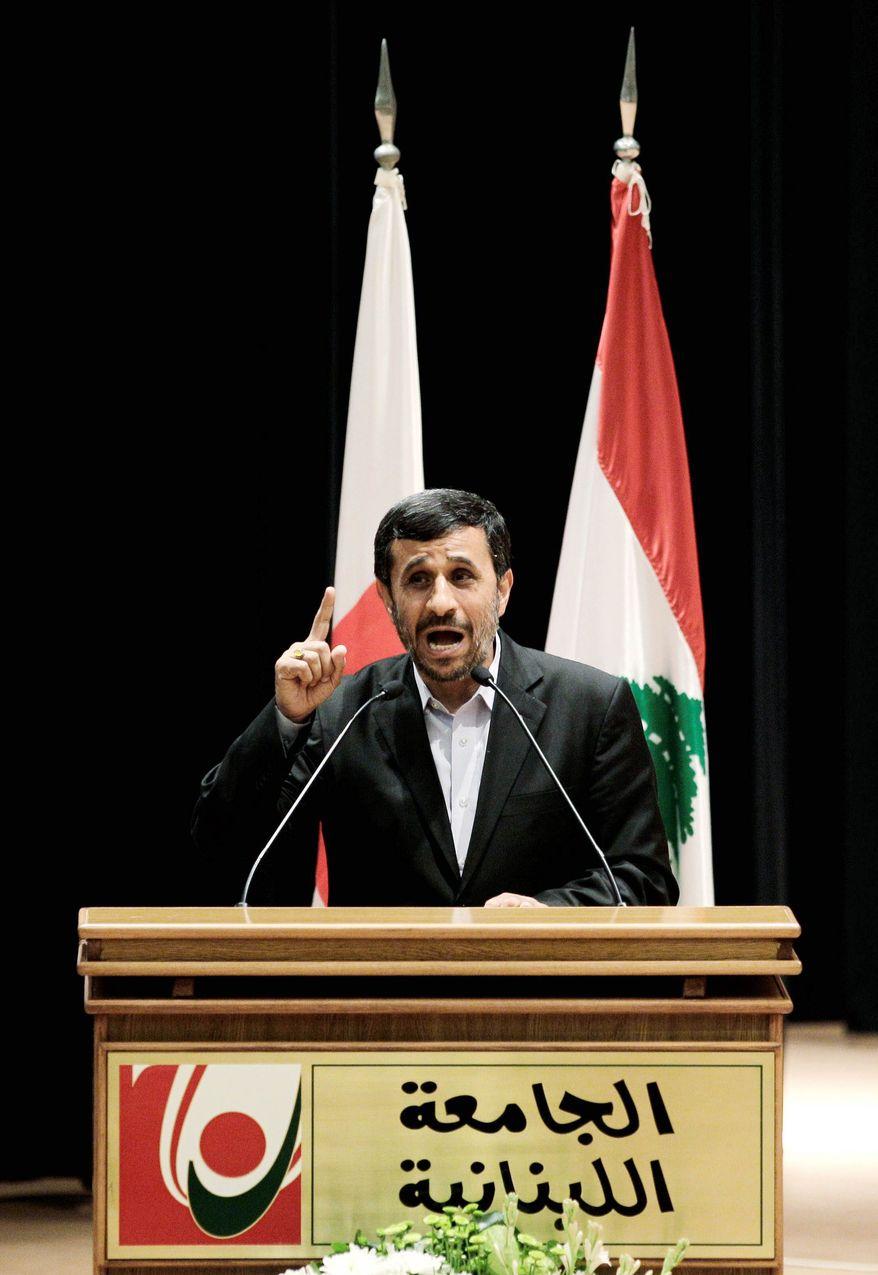 ISRAEL'S ENEMY: Iranian President Mahmoud Ahmadinejad is considered by many of Lebanon's common folk as a protector from Israeli dominance. (Associated Press)