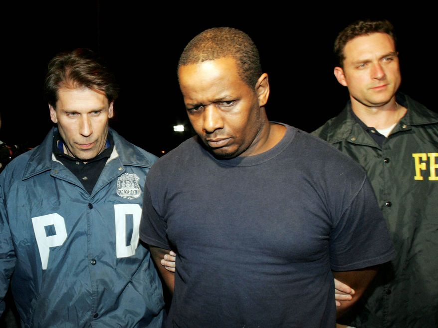 James Cromitie, seen here in May 2009 in New York after being arrested in a plot to bomb synagogues and shoot down military aircraft, was among four defendants convicted Monday. (Associated Press)