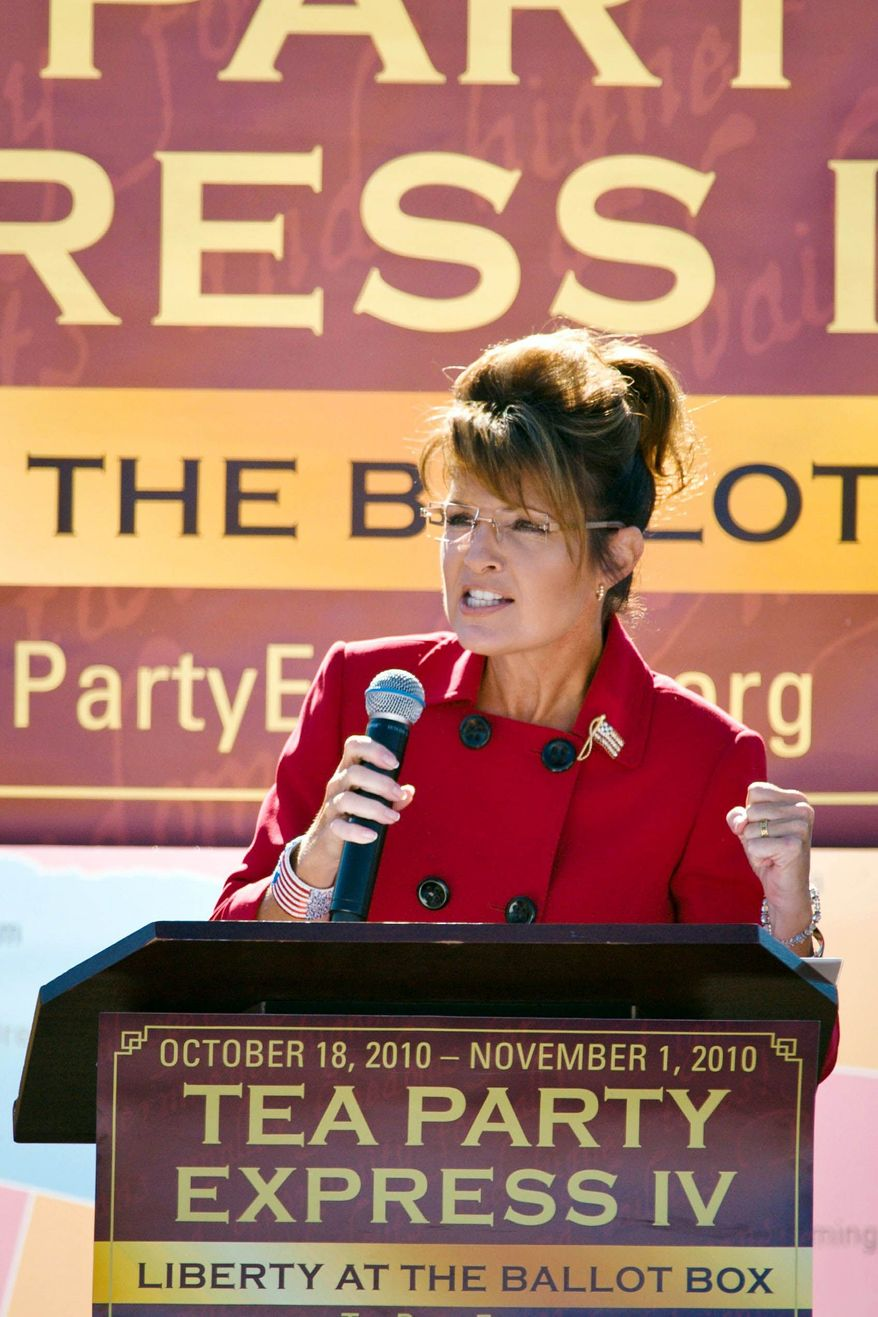 Former Alaska Gov. Sarah Palin speaks to the gathering for the launch of the two-week Tea Party Express bus tour in Reno on Monday.