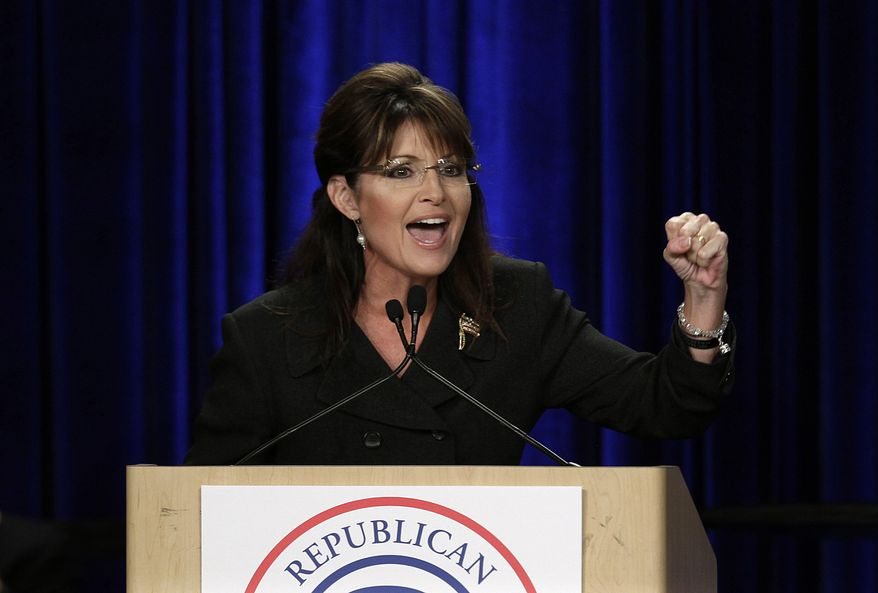 ** FILE ** Former Alaska Gov. Sarah Palin speaks during a rally in Anaheim, Calif., on Saturday, Oct. 16, 2010. (AP Photo/Jae C. Hong)