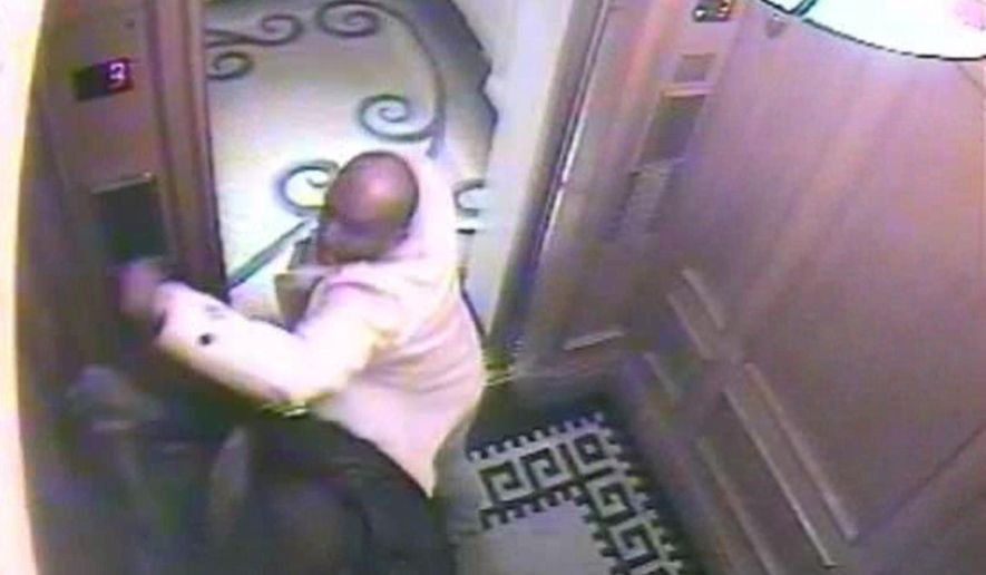 In this CCTV handout image issued by the London Metropolitan Police, Saudi Arabian Prince Saud Abdulaziz bin Nasser Al Saud, in white jacket, attacks his servant, Bandar Abdulaziz, in a hotel elevator. A jury in London's Old Bailey criminal court, on Tuesday Oct. 19, 2010, found Prince Saud guilty of murdering Mr. Abdulaziz. On Wednesday, he was sentenced to at least 20 years in prison. (AP Photo/Metropolitan Police, HO)