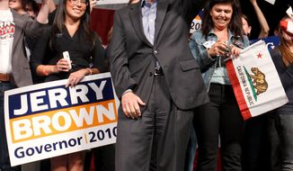 ASSOCIATED PRESS PHOTOGRAPHS Democratic gubernatorial candidate Jerry Brown leads Republican Meg Whitman by 8 points, according to a new poll. Mr. Brown got 44 percent of likely voters to 36 percent for Ms. Whitman, with 16 percent undecided and 4 percent for other candidates.