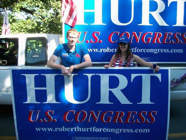 PROVIDED BY HURT FOR U.S. CONGRESS Reports on the Internet suggest that Republican Robert Hurt is far ahead of his opponent, incumbent Rep. Tom Perriello, a Democrat, in the effort to cover the 5th Congressional District of Virginia with their signs as the U.S. House campaign comes to a close after next week.