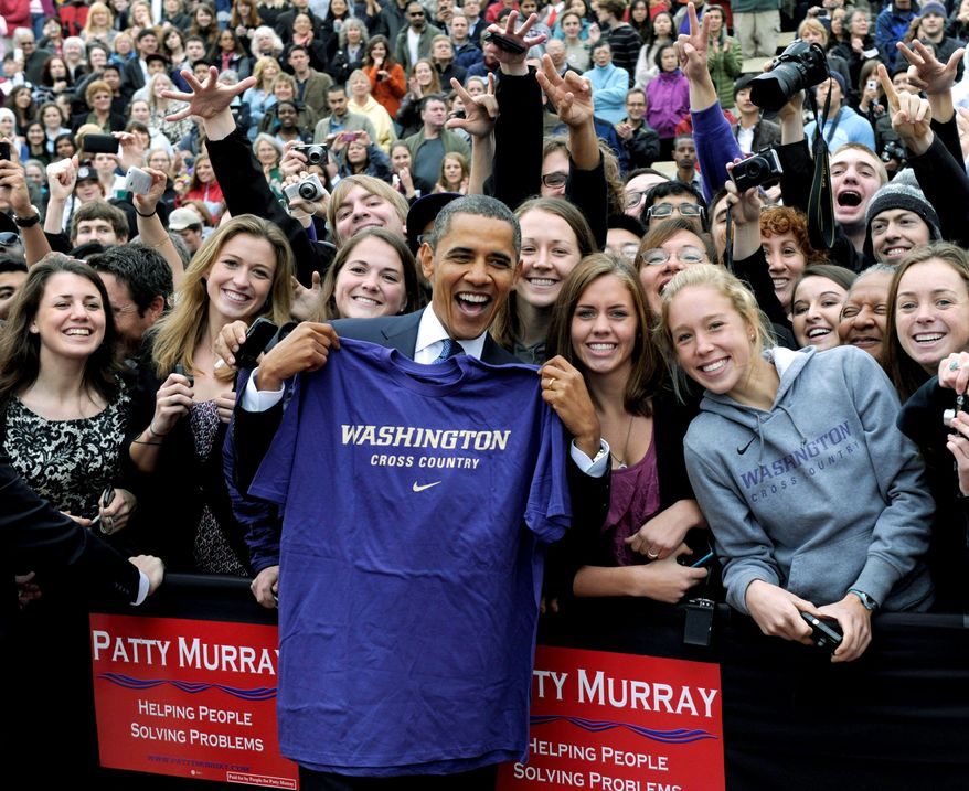 ASSOCIATED PRESS President Obama headlines a rally for Sen. Patty Murray at the University of Washington in Seattle during a four-day, five state campaign swing focusing on tight races in the Pacific Northwest and Midwest.