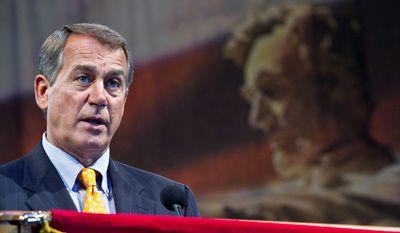 CHOOSING CHAIRMEN: Minority Leader John A. Boehner leads the House Steering Committee. (Associated Press)