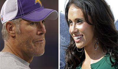 "FILE - At left, in a Sept. 2, 2010, file photo,  is Minnesota Vikings quarterback Brett Favre before an NFL football game against the Denver Broncos, in Minneapolis. At right, in a Sept. 14, 2008, file photo, is Jenn Sterger on the sideline before an NFL football game between the New York Jets and New England Patriots, in East Rutherford, N.J.  The ex-New York Jets employee involved in the allegation against Favre has hired a lawyer. Sterger's manager Phil Reese says Wednesday, Oct. 20, 2010, the decision was made ""after much deliberation."" (AP Photo/File)"