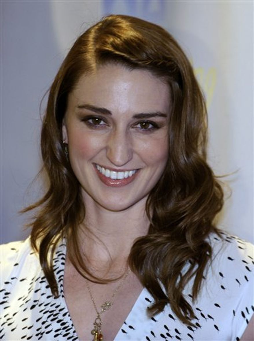 "FILE -- In a March 26, 2009 file photo singer Sara Bareilles arrives for the concert event ""One Splendid Evening,"" onboard the cruise ship Carnival Splendor in Los Angeles.  Bareilles will open for President Barack Obama at a Las Vegas rally designed to rouse Democratic voters before the midterm elections Friday Oct. 22, 2010. (AP Photo/Chris Pizzello/file)"