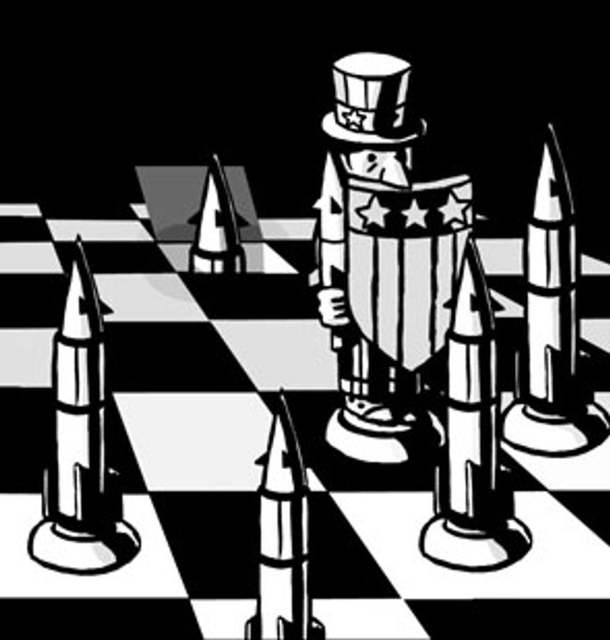 Illustration: START treaty by Alexander Hunter for The Washington Times