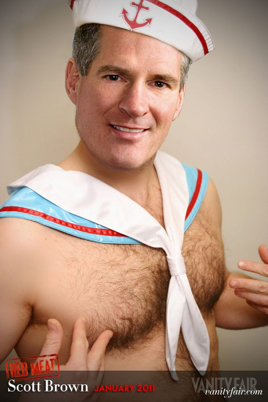 VANITY FAIR A confabulated pinup image of Sen. Scott Brown of Massachusetts in Vanity Fair magazine could help derail talk of Republican victories in the midterm elections.