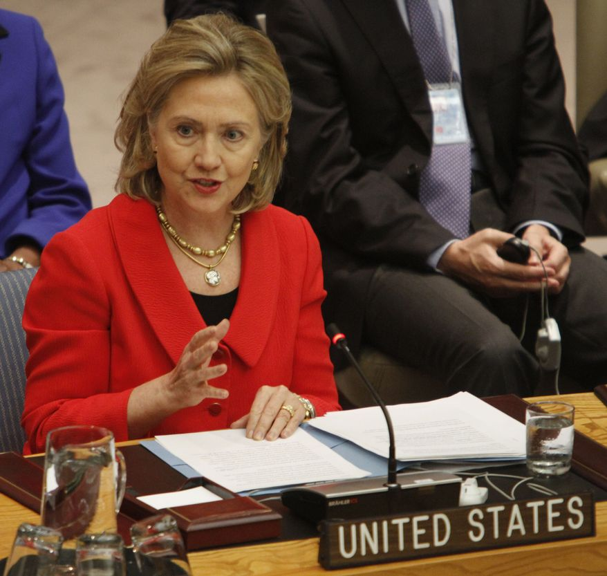 U.S Secretary of State Hillary Rodham Clinton addresses a Security Council meeting on Tuesday at United Nations headquarters. (Associated Press)