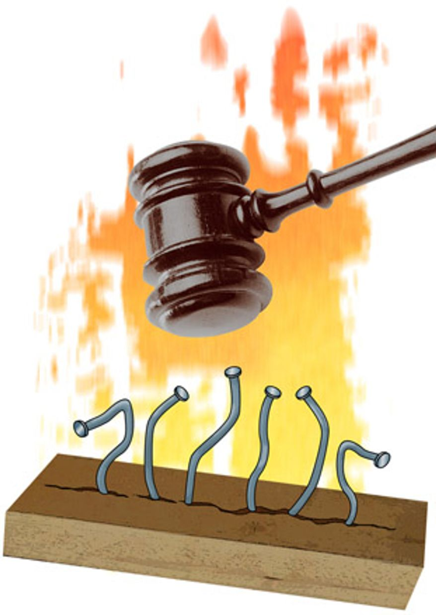Illustration: Judicial power by Greg Groesch for The Washington Times