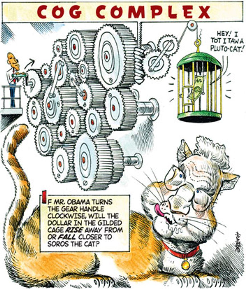 Illustration: Soros by Alexander Hunter for The Washington Times
