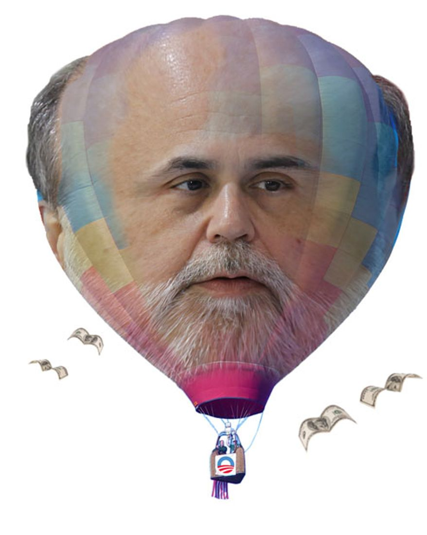 Illustration: Bernanke balloon by Greg Groesch for The Washington Times