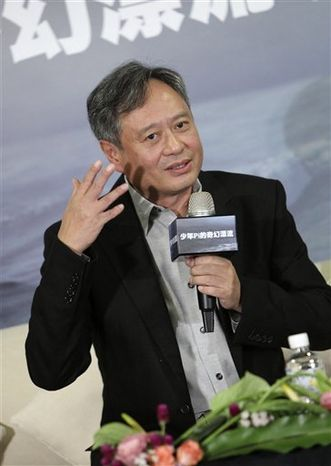 """Taiwanese director Ang Lee discusses the difficulties in preparing to direct his new film """"The Life of Pi"""", Friday, Oct. 29, 2010, in Taipei, Taiwan. Lee's plans to direct the screen adaptation of Yann Martel's best-selling novel in 3D to better convey the fantasy adventure starting in 2011. (AP Photo/Wally Santana)"""