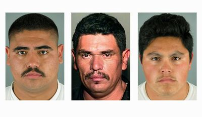 From left: Isai Aguilar Morales, 22, Crisantos Moroyoqui, 36, and Jose David Castro Reyes, 25, are suspected in connection with the beheading of Martin Alejandro Cota-Monroy, 38, in suburban Phoenix. (Immigration and Customs Enforcement via Associated Press)