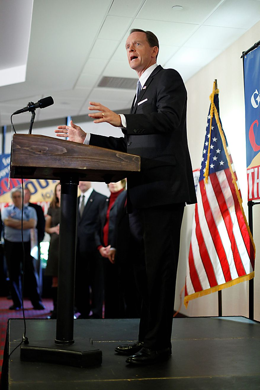 Pennsylvania Republican U.S. Senate candidate Pat Toomey makes remarks during a campaign stop in Philadelphia, Monday, Nov. 1, 2010. (AP Photo/Matt Rourke)