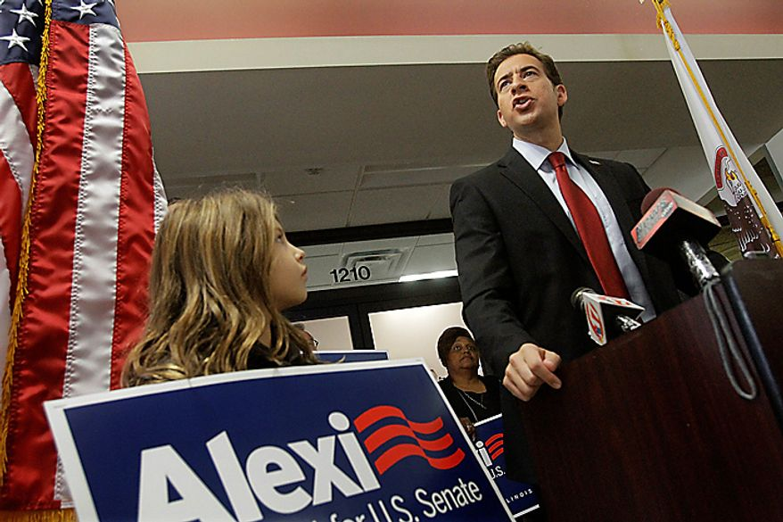 U.S. Senate Democratic candidate Alexi Giannoulias campaigns in Springfield, Ill., Monday, Nov. 1, 2010. Giannoulias is running for Barack Obama's former Senate seat. (AP Photo/Seth Perlman)