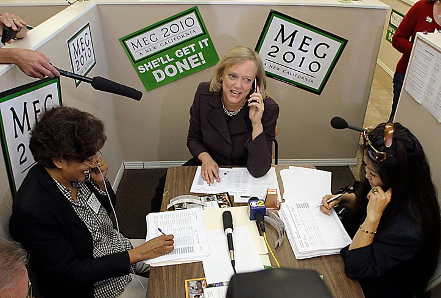 California Republican gubernatorial candidate Meg Whitman joins volunteers, phoning voters on her and other Republicans' behalf, during a stop at her campaign office in the Woodland Hills area of Los Angeles Monday, Nov. 1, 2010.  (AP Photo/Reed Saxon)