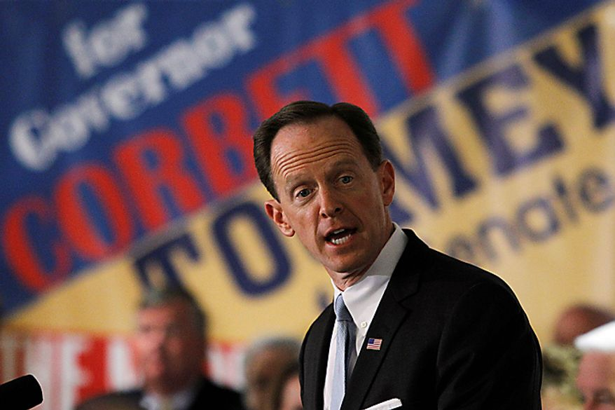 Pennsylvania Republican Senate candidate Pat Toomey makes remarks during a campaign stop in Philadelphia, Monday, Nov. 1, 2010. (AP Photo/Matt Rourke)