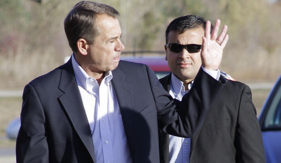 U.S. Rep. John Boehner, Ohio Republican, waves as he arrives at his voting location, Tuesday, Nov. 2, 2010, in West Chester, Ohio. (AP Photo/Al Behrman)