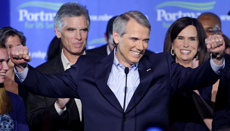 ASSOCIATED PRESS Sen.-elect Rob Portman, R-Ohio speaks to supporters during the Ohio Republican Party celebration, Tuesday, Nov. 2, 2010, in Columbus, Ohio.