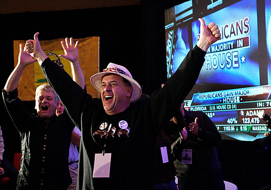 Tea Party Patriots celebrate as the television announces that Republicans have gained the majority in the House of Representatives as the Tea Party Patriots hold an election night party in Washington, Tuesday,  Nov. 2, 2010.  (AP Photo/Ann Heisenfelt)